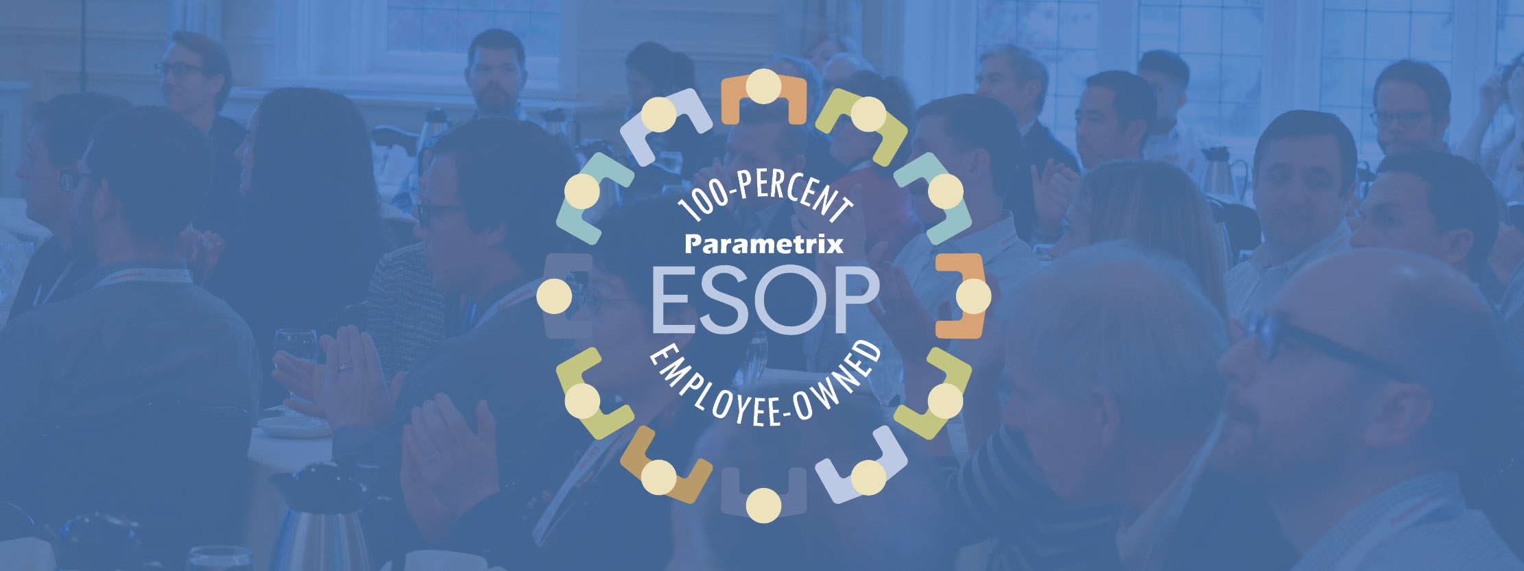 A blue image with people in the background and ESOP 100-percent employee-owned text