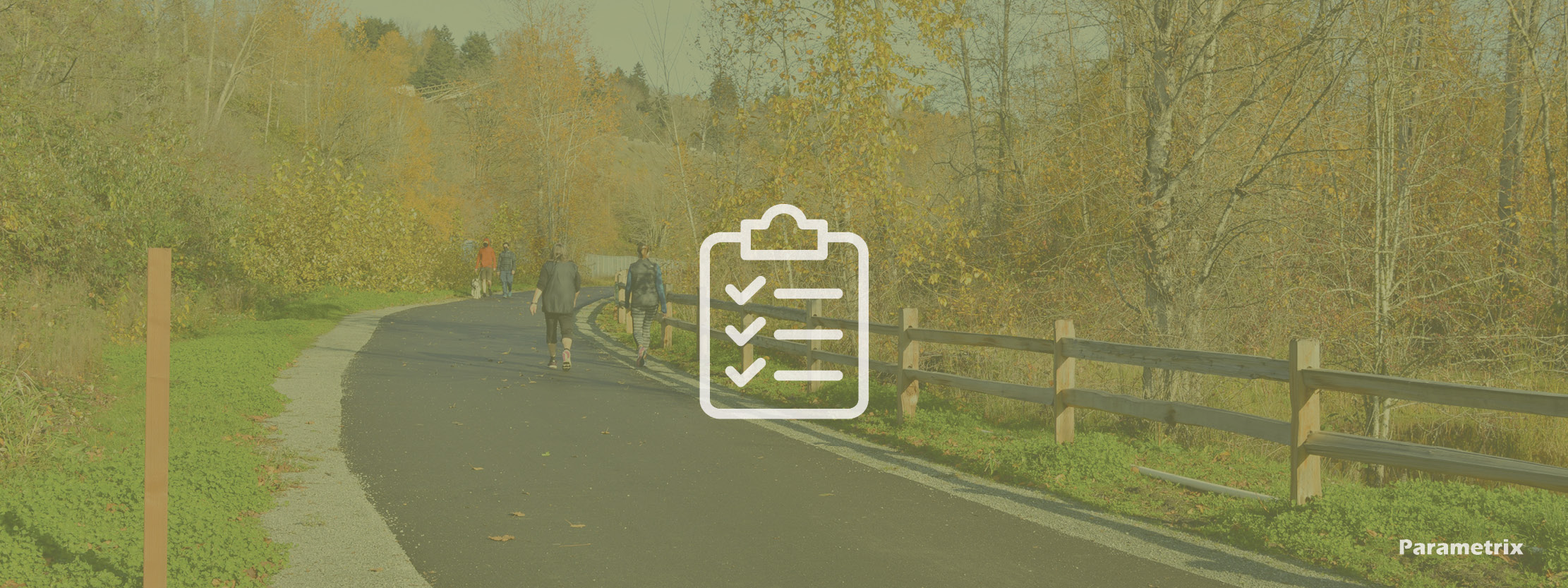 A trail with people walking overlayed by a checklist icon