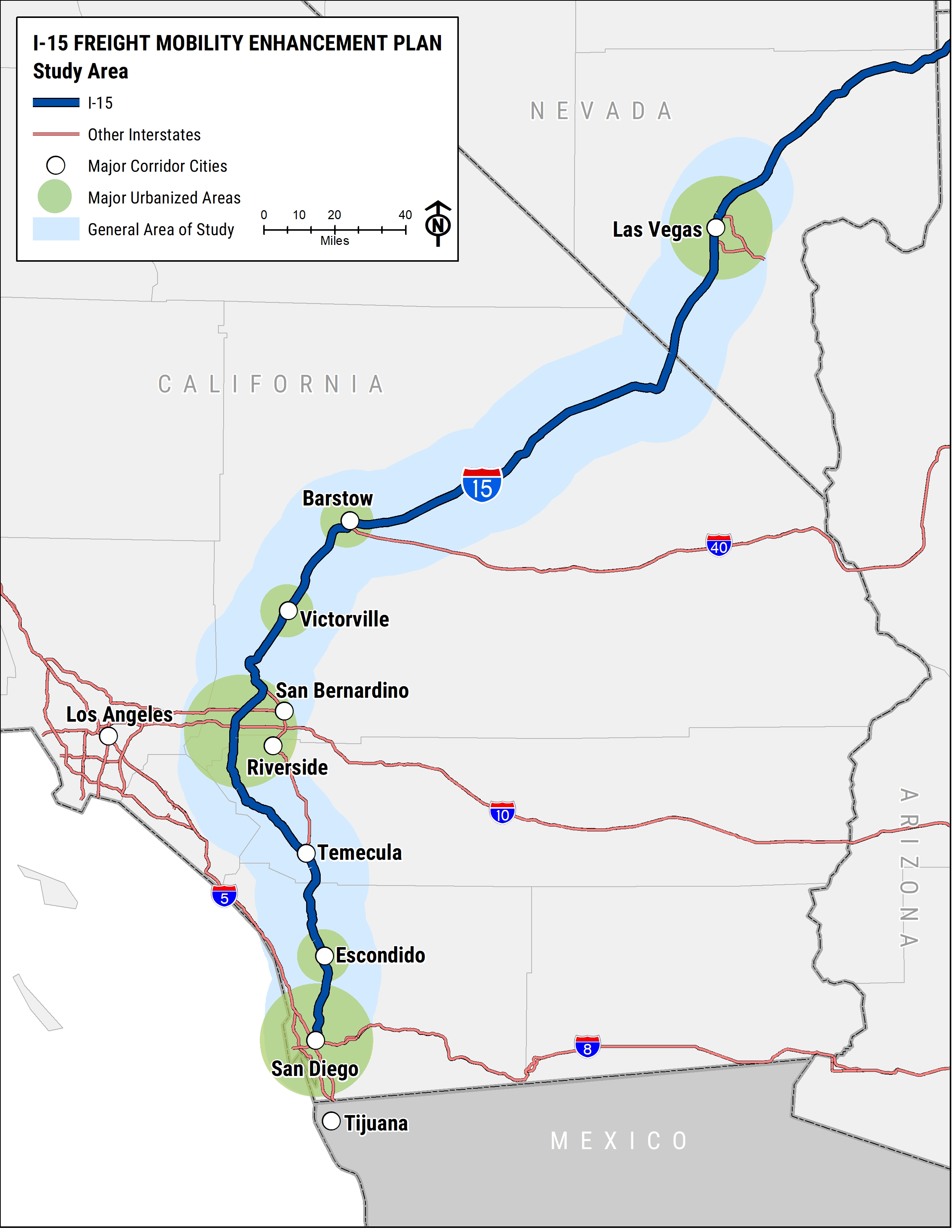 Map showing I-15 freight mobility enhancement plan from las vegas to san diego