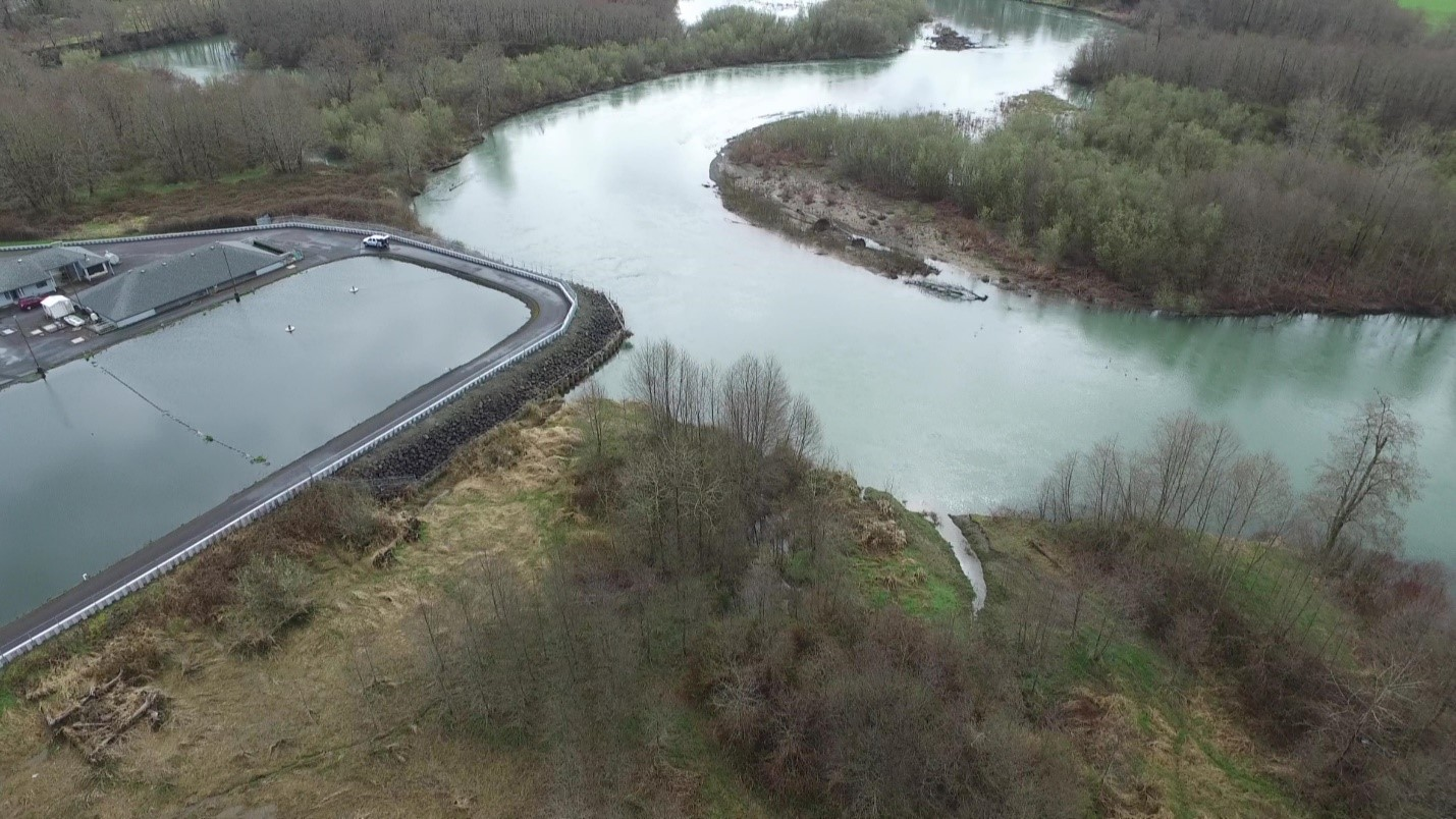 The Montesano Wastewater Treatment Plant next to the Wynooche... (<a href=