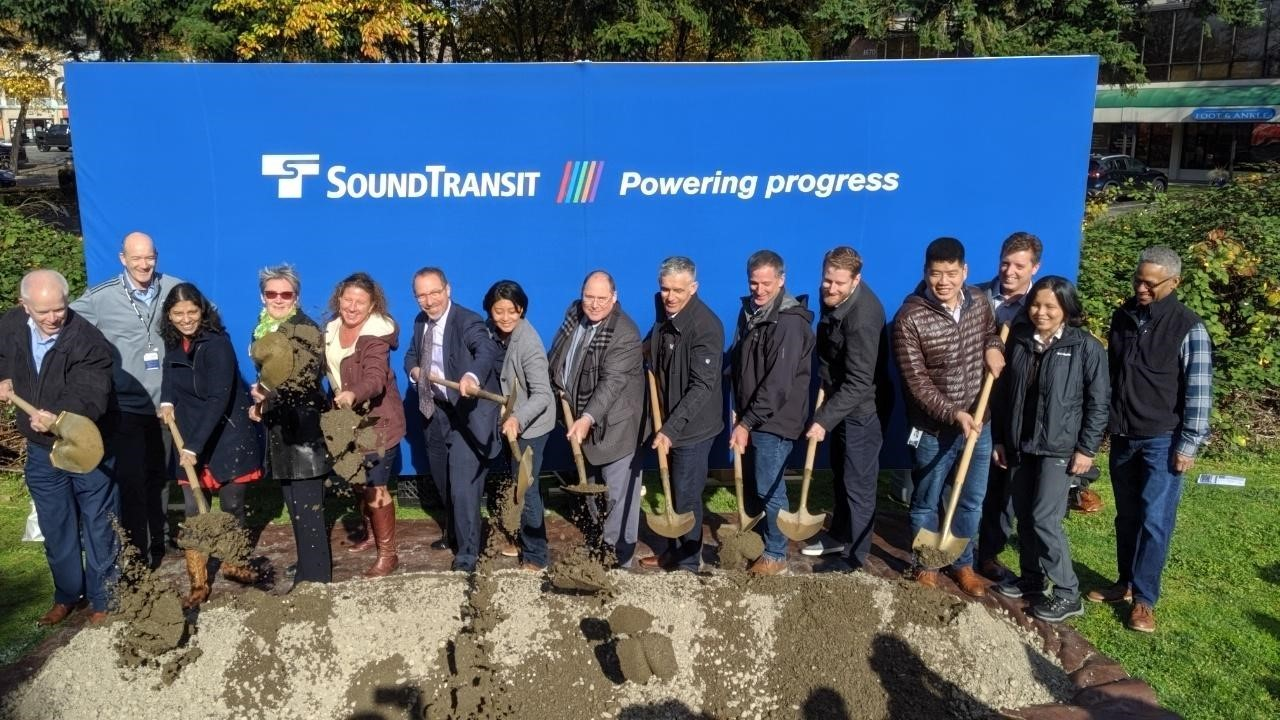 The Sound Transit team poses for a photo at the Downtown Redmond Link Extension Groundbreaking Ceremony on October 23.