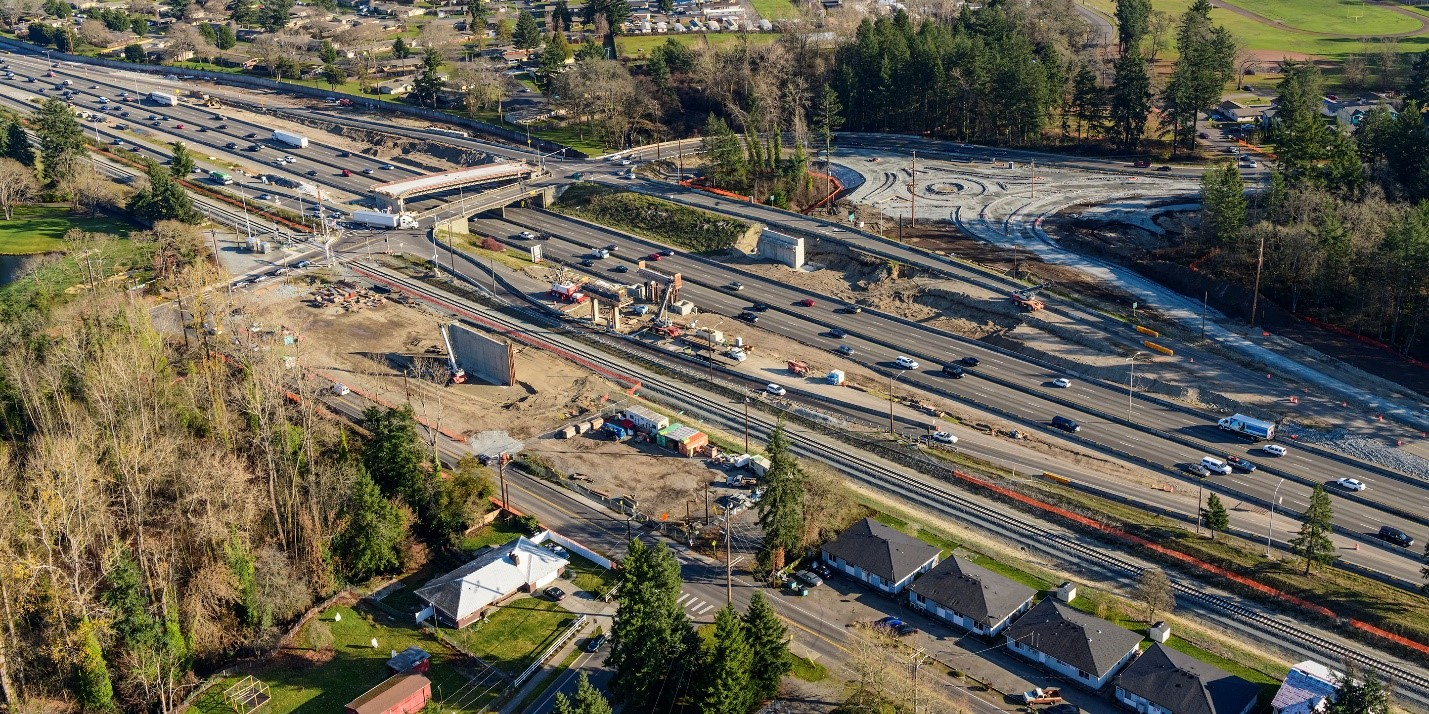 An aerial view of I-5 in Lakewood, WA