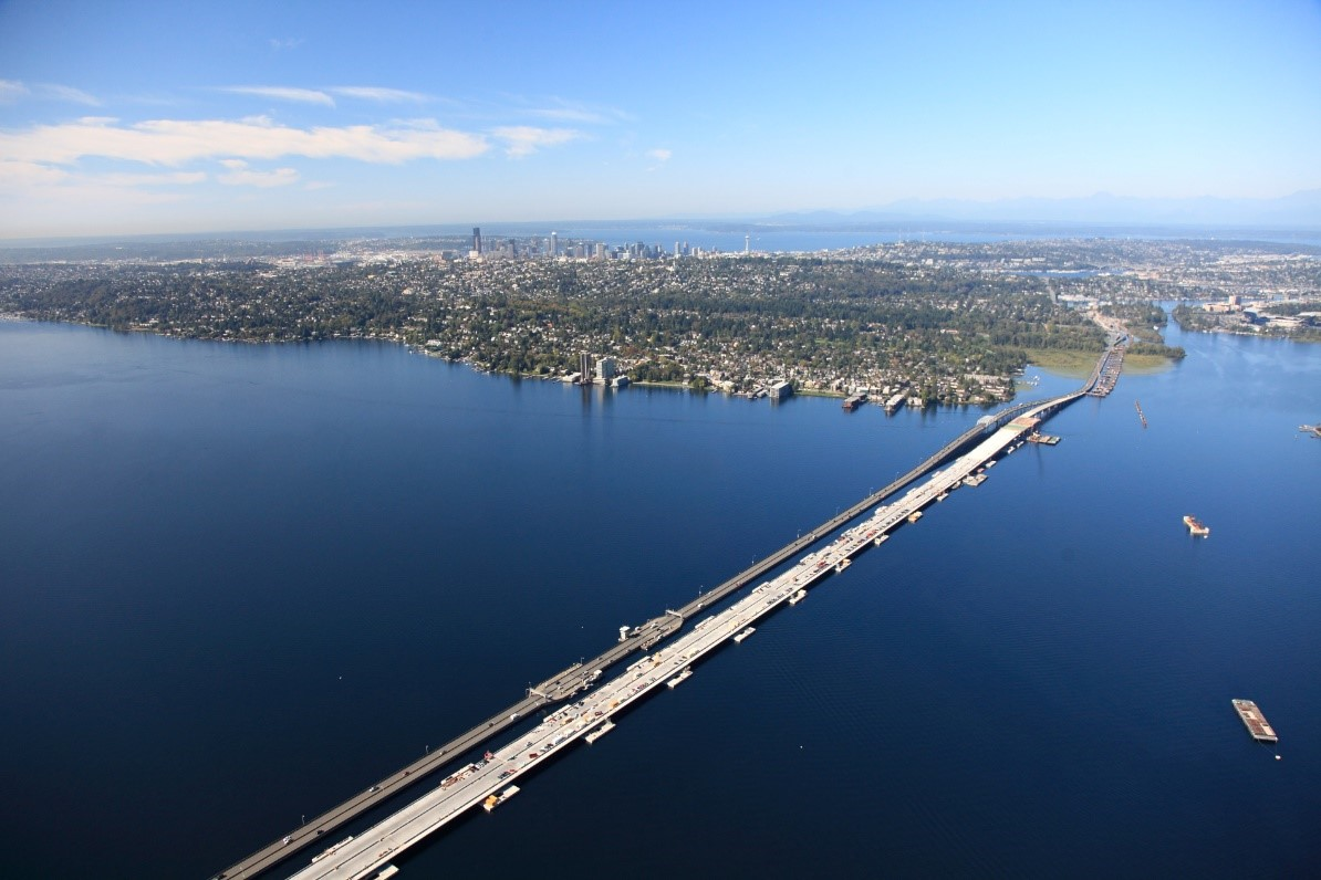 An aerial view showing the SR 520 floating bridge